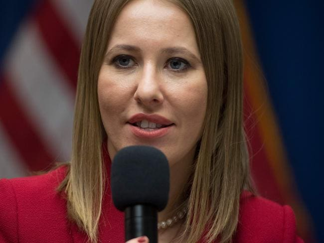 Russian presidential candidate Ksenia Sobchak speaks during a press conference at the National Press Club in Washington. Picture: AFP/Saul Loeb