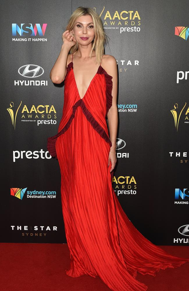 Abby Earl arrives ahead of the 5th AACTA Awards Presented by Presto at The Star on December 9, 2015 in Sydney, Australia. Picture: AAP