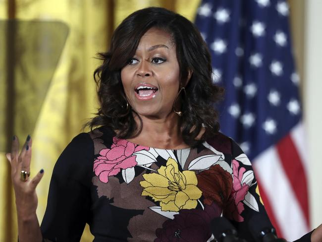 "First Lady Michelle Obama has been called an ""ape in heels"" in a Facebook post, sparking social media backlash. Picture: AP"