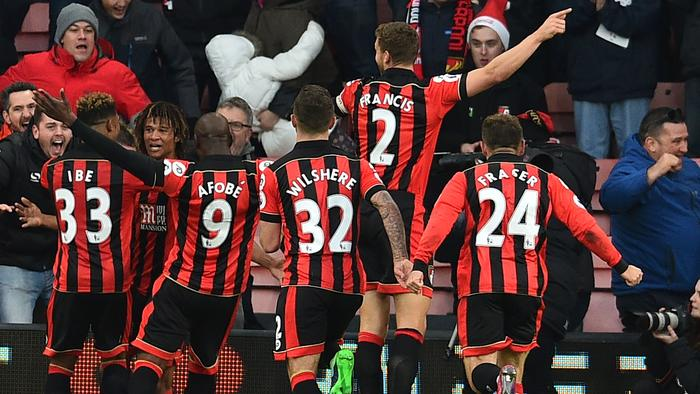Bournemouth's Dutch defender Nathan Ake (2nd L) ce