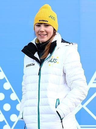 Australian short track speed skater Deanna Lockett poses wearing competition wear Picture: Getty Images