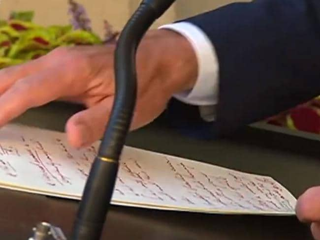 Turnbull's hand written his speech in a furious scrawl. Picture: Channel 9