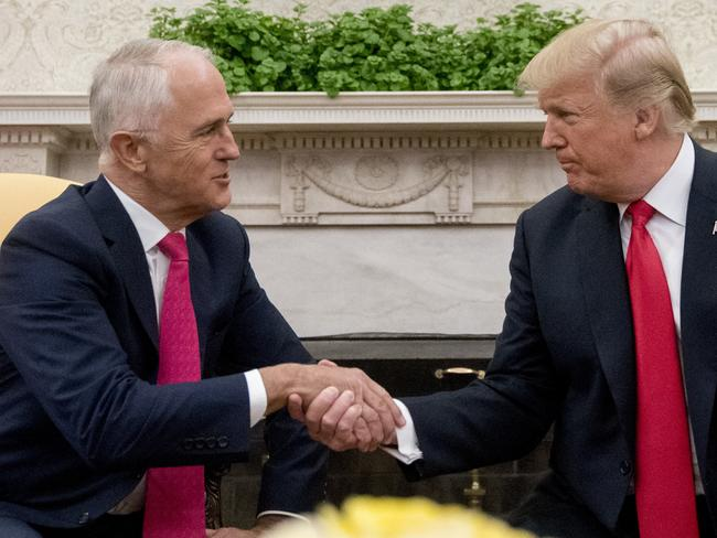 Malcolm Turnbull and Donald Trump pal it up. Picture: AP Photo/Andrew Harnik