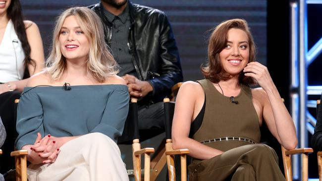 Stars Rachel Keller and Aubrey Plaza discuss Legion during a television panel in California on January 12. Picture: Frederick M. Brown/Getty Images/AFP