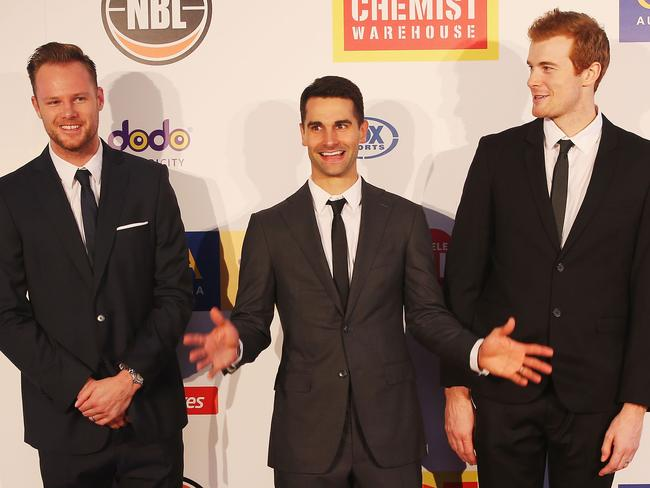 Kings stars Brad Newley, Kevin Lisch and Tom Garlepp at the NBL MVP awards in Melbourne. Picture: Getty Images