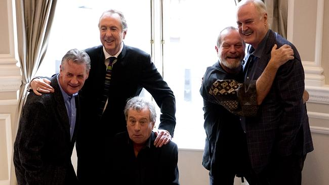 The surviving members of the Monty Python comedy group, from left, Michael Palin, Eric Idle, Terry Jones, Terry Gilliam and John Cleese pose for photographers during a photocell to promote a reunion stage show they are going to perform together, at a hotel in London, Thursday, Nov. 21, 2013. The group had its first big success with the Monty Python's Flying Circus TV show, which ran from 1969 until 1974, winning fans around the world with its bizarre sketches. (AP Photo/Matt Dunham)