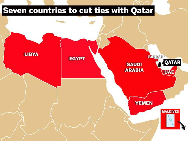 Seven countries to cut ties with Qatar