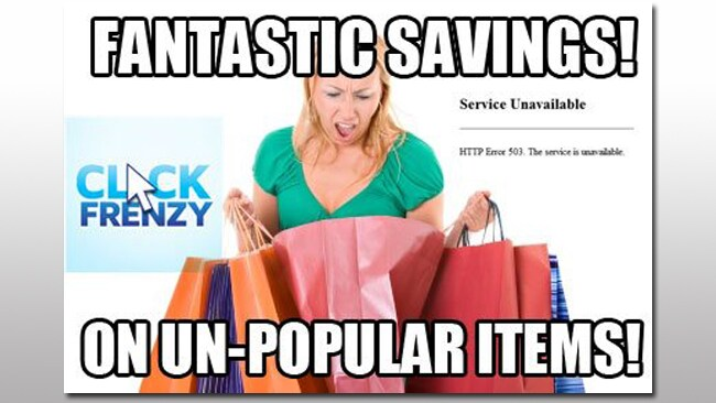 #ClickFail web storm: the sale that crashed the internet. Image: facebook.com/ClickFrenzyFail