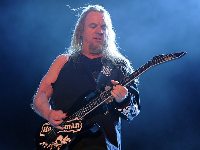 Guitarist Jeff Hanneman of Slayer died of liver failure May 2, 2013 at a Southern California area hospital. He was 49. Here, he performs onstage during The Big 4 held at the Empire Polo Club on April 23, 2011 in Indio, California. (Photo by Kevin Winter/Getty Images)
