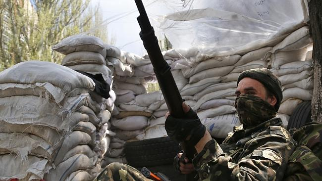 Armed militias... Ostrovsky is being held by pro-Russian gunmen. Picture: Sergei Grits