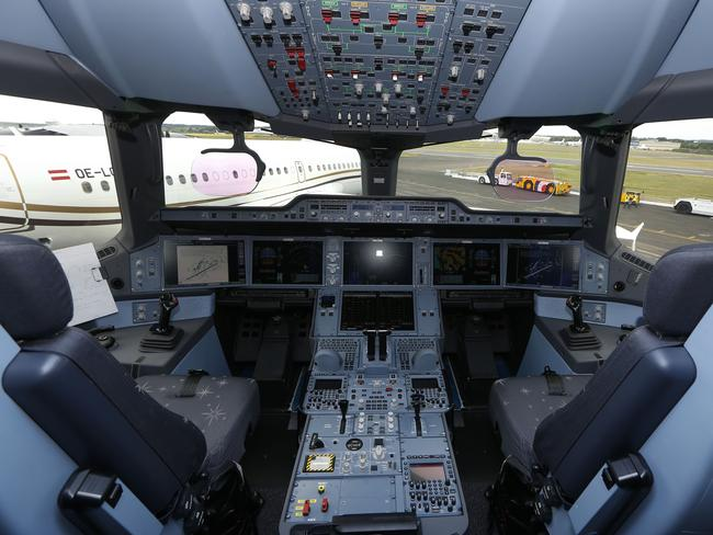The cockpit of an Airbus A350 XWB.
