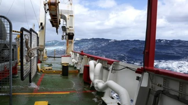 Continuing delays ... Cyclonic seas forced a four-day suspension of the search for MH370 last week. Picture: ATSB, photo by ABIS Chris Beerens, RAN.