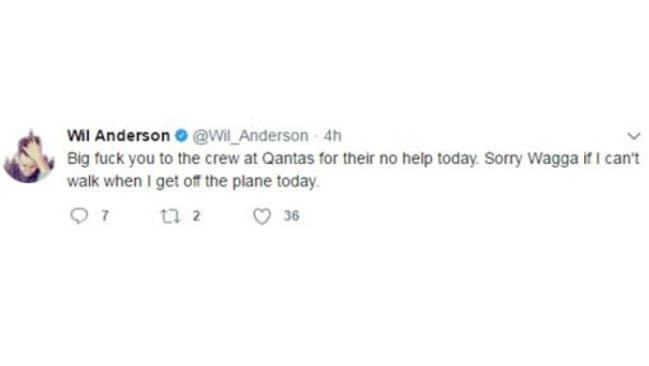 Wil Anderson blasts Qantas over arrest in a tweet, which has been deleted. Picture: Supplied