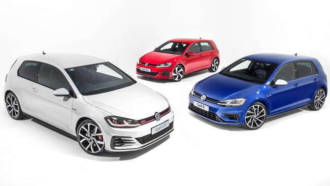 The updated GTI-P (left), GTI (centre) and Golf R (right). Picture: Supplied.