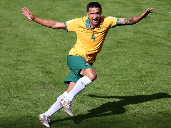Tim Cahill celebrates THAT World Cup goal.