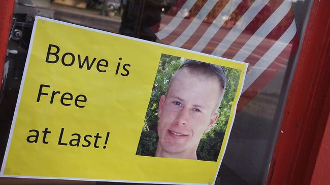 Supporters back home .. a sign announcing the release of Sgt. Bowe Bergdahl sits in the window of the Hailey Paint and Supply store on Main Street in Hailey, Idaho.