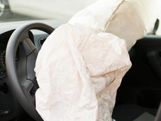 Deployed airbag in the interior of a vehicle
