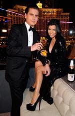 Scott Disick and Kourtney Kardashian celebrate New Year's Eve at the Chateau Nightclub and Gardens at the Paris Las Vegas on December 31, 2011 in Las Vegas. Picture: Gety