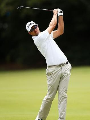 Adam Scott plays a shot off the fairway at this year's Australian Open at Royal Sydney.