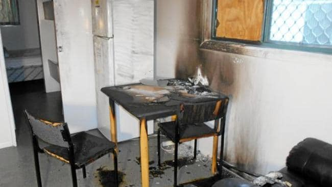 Nebo Ambulance Station was robbed and set alight.