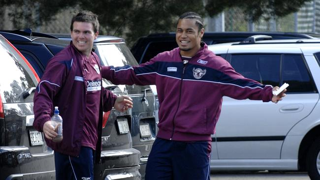 Jamie Lyon and Steve Matai share a laugh ahead of training.