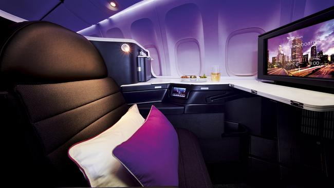 Virgin Australia's spacious new Business Class suite on its Boeing 777s servicing Australia-LA routes. Picture: Supplied