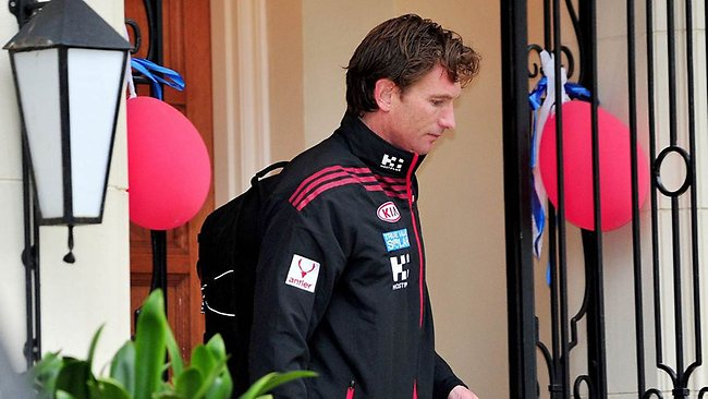James Hird leaving his house this morning. Picture: Nicole Garmston