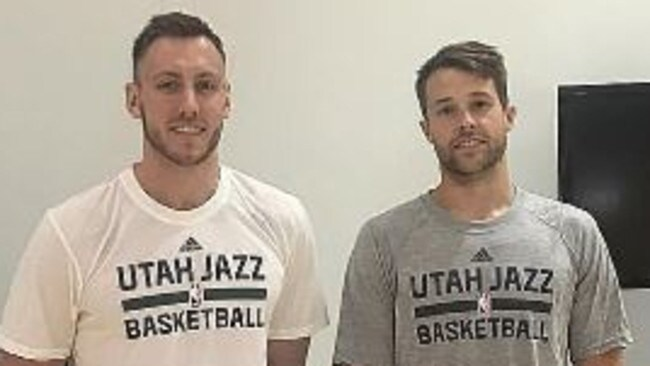 Creek and his 36ers teammate Nathan Sobey after their mini-camp with Utah. Picture: Supplied.