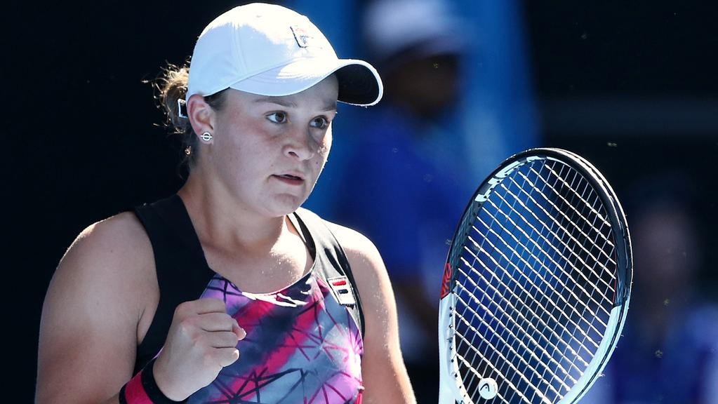 Ash Barty at this year's Australian Open. Picture: Wayne Ludbey