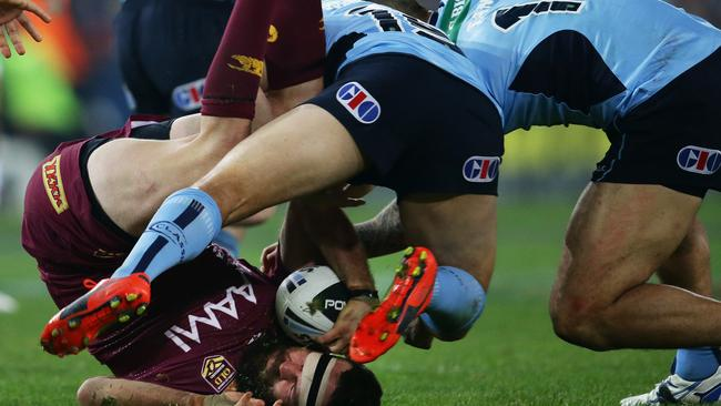 Anthony Watmough is still sidelined through suspension for this tackle on Nate Myles. pic. Phil Hillyard
