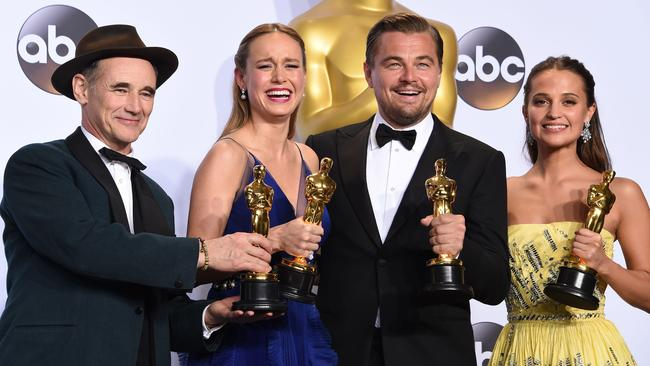 Best Actor of 2016 Dicaprio seen posing with fellow winners (Left to Right) - Best Supporting Actor Mark Rylance, Best Actress Brie Larson, Leonardo DiCaprio and Best Supporting Actress Alicia Vikander. Picture: Robyn Beck/AFP