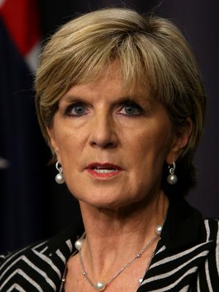 Trying to help ... Australia's Foreign Affairs Minister Julie Bishop holding a press conference on Peter Greste in Canberra. Picture: Kym Smith