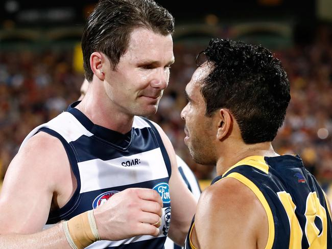 ADELAIDE, AUSTRALIA - SEPTEMBER 22: Patrick Dangerfield of the Cats congratulates former Crows teammate Eddie Betts of the Crows during the 2017 AFL First Preliminary Final match between the Adelaide Crows and the Geelong Cats at Adelaide Oval on September 22, 2017 in Adelaide, Australia. (Photo by Adam Trafford/AFL Media/Getty Images)