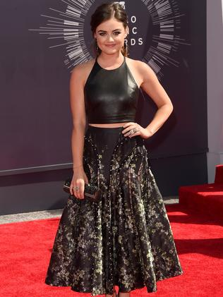 Lucy Hale attends the 2014 MTV Video Music Awards.