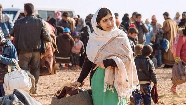 Children's right campaigner Malala Yousafzai visited the refugee site. Picture: Twitter/Andrew Harper