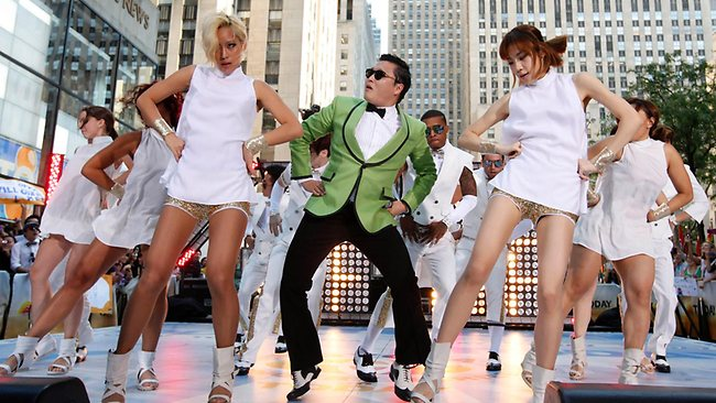 "PSY performs his massive K-pop hit ""Gangnam Style"" live on NBC's ""Today"" show in New York. Picture: AP/Invision"