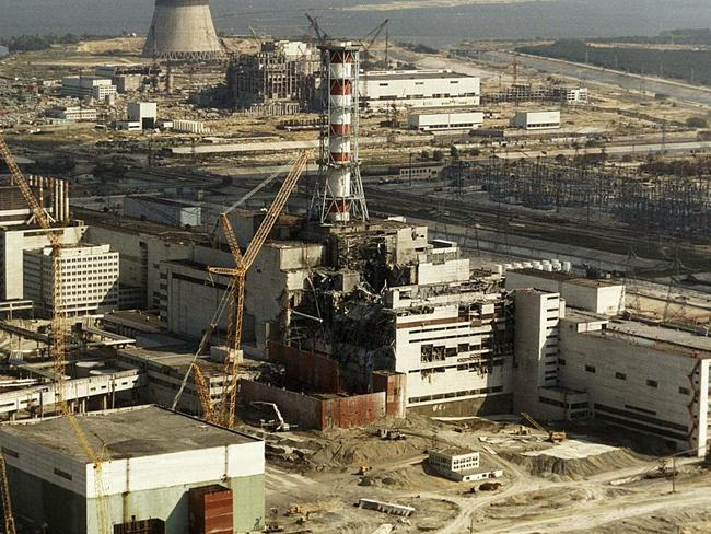 An aerial view of the Chernobyl nuclear plant six months after the 1986 disaster. Picture: News Corp