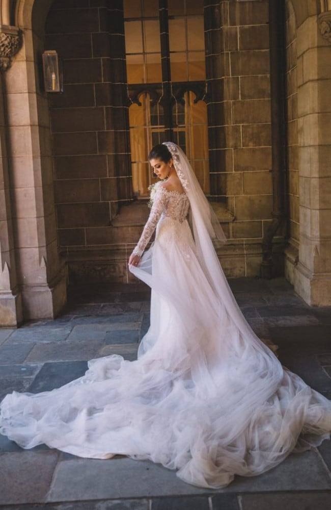 Hasan Topal's wife Samantha Rabah's shows off her incredible dress on their wedding day. Picture: Facebook
