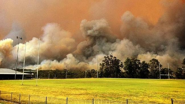 The blaze seen from an oval in Springwood. Picture: Twitter