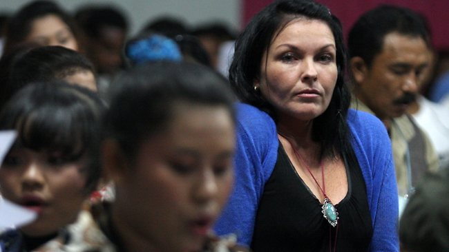 Australian convicted drug smuggler Schapelle Corby attends a service at Kerobokan Jail in Bali. Picture: Lukman S Bintoro