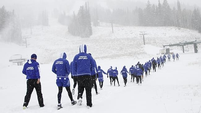 The Kangas set off on a walk in the snow in Utah. Picture: nmfc.com.au