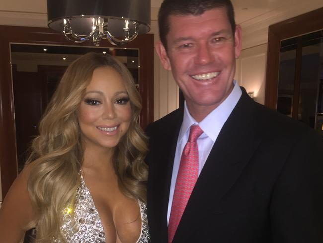 Mariah Carey and James Packer at Crown Casino before her New Year's Eve performance.