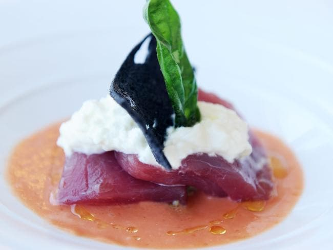This Tuna crudo, burrata cheese, avocado and cream of tomato from Ormeggio restaurant in Sydney looks appetising, but avoiding carbs every day will probably be difficult.