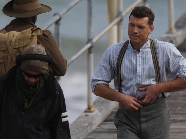 Sam Worthington films a scene from Deadline Gallipoli, at South Australia's Port Noarlunga. Picture: Dylan Coker