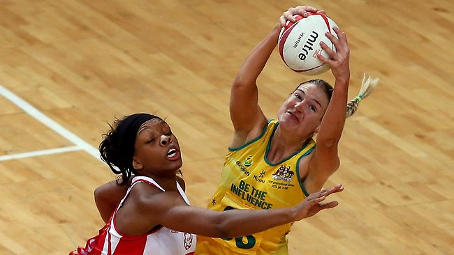 Eboni Beckford Chambers of England (L) in action with Caitlin Bassett of Australia during the second netball Test at Wembley Arena. Picture: Scott Heavey