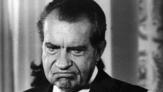 Forced to go ... President Richard Nixon after announcing his resignation over the Watergate scandal.