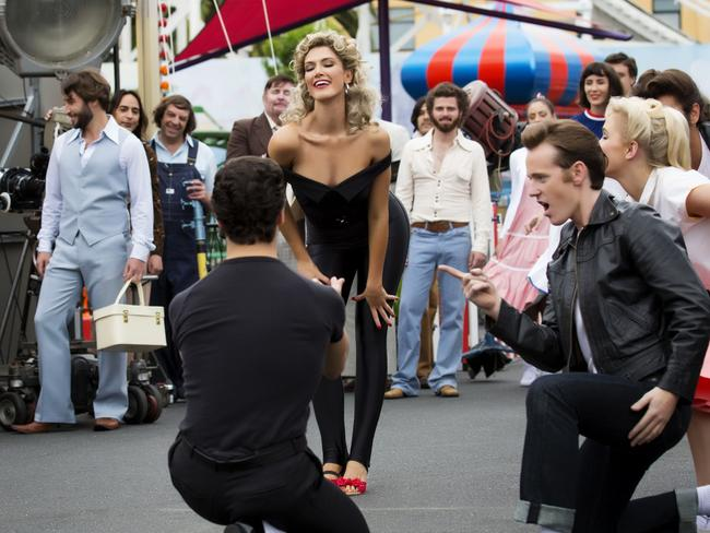 Delta Goodrem as Olivia Newton John on the set of Hopelessly Devoted To You. Picture: Channel 7