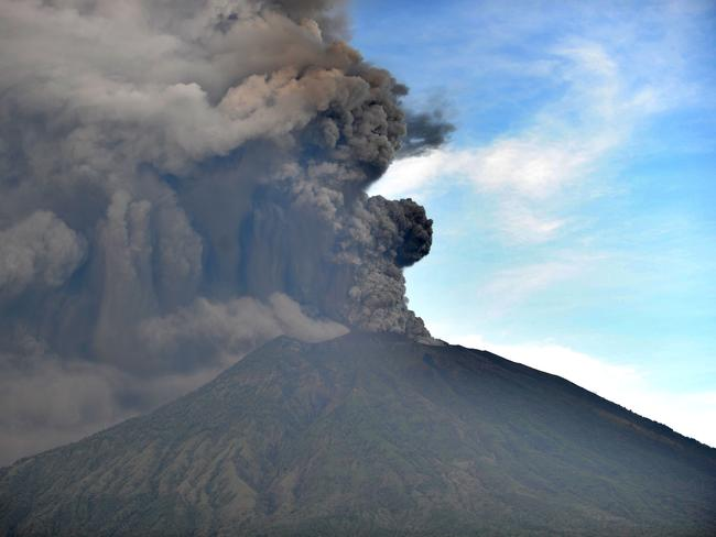 The huge ash cloud caused Bali's Denpasar airport to close on Monday. Picture: AFP/Sonny TumbelakaSource:AFP