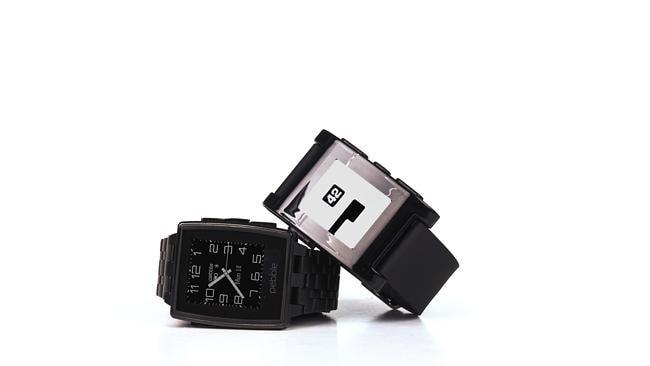 The Pebble Steel smartwatch has LED lights and waterproof coating. Picture: Supplied.