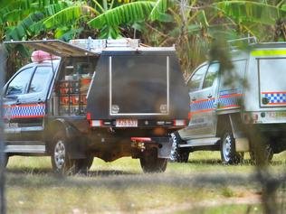 Police forensics vehicles at the scene. Picture: PATRINA MALONE